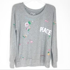 Chaser Fuzzy Gray Embroidered Sweatshirt Top